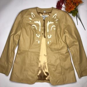 PAMELA McCOY TAN Cream Scoll Insert LEATHER Jacket